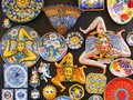 The trinacria symbol of sicily and typical sicilian glazed ceramic Stock Images