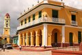 Trinidad cuba architecture cienfuegos february beautiful colonial colorful and people in everyday life in as seen from plaza Stock Image