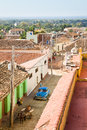 Trinidad street cuba a cobbled in colonial with antique car Royalty Free Stock Images