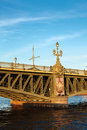 Trinity bridge across the river Neva, Russia Stock Photos