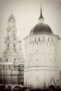 Trinity sergius lavra a bell tower and old fortress tower sergiev posad russia unesco world heritage site vintage style sepia Stock Images