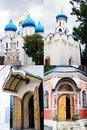 Trinity sergius lavra collage of four images showing old orthodox churches of the famous landmark located in sergiev posad moscow Stock Photos