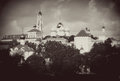 Trinity sergius lavra panorama sergiev posad russia unesco world heritage site vintage style sepia photo Royalty Free Stock Photography