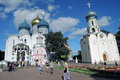 Trinity Sergius Lavra in Russia. Color photo with people.