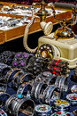 Trinkets jewelry and antiques different colored displayed in the waiting customers Royalty Free Stock Image