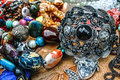 Trinkets and jewelry different colored displayed in the waiting customers Royalty Free Stock Photos
