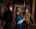 Trio of brave european medieval characters Royalty Free Stock Image