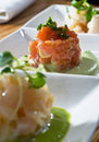 Trio crudo tasting Royalty Free Stock Photo