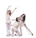 Trio of cute young girls posing dressed as angels pretty Royalty Free Stock Photo