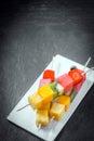 Trio of fresh fruit kebabs Royalty Free Stock Photo