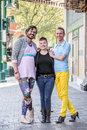 Trio of Gender Fluid Young People Downtown Royalty Free Stock Photo