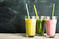 Trio of healthy fruit and vegetable smoothies Royalty Free Stock Photo