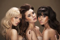 Trio of sensual young women really Royalty Free Stock Photos