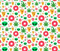 Trip flat vector seamless pattern with marijuana leafs, donuts, pizza slices and aliens. Isolated on white background