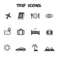 Trip icons mono vector symbols Stock Images