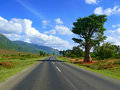 Trip to africa tanzania the road landscape scenery around Royalty Free Stock Photos
