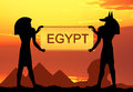Trip to egypt illustration of egyptian hieroglyphics at sunset Stock Photos