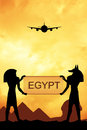Trip to egypt illustration of egyptian hieroglyphics at sunset Stock Images