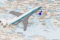 Trip to europe abstract with map of and toy airplane Stock Photo