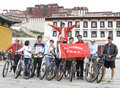 Trip to Tibet by bike Stock Image