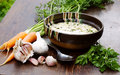 Tripe soup with garlic a delicious Stock Photography