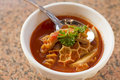 Tripe trippa alla roma soup with red tomato sauce and parsley Stock Photo