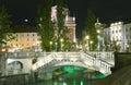 Triple bridge ljubljanica river preseren square ljublajana slove the three bridges on the ljubljana slovenia europe with Stock Images