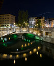 Triple Bridges  in Ljubljana at night Royalty Free Stock Photo