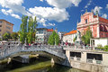 Triple bridges and St. Franciscan church, Ljubljana, Slovenia Royalty Free Stock Photo