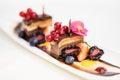 Triple chocolate dessert Royalty Free Stock Photo