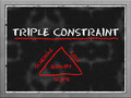 Triple constraint triangle in project management on blackboard Stock Photos