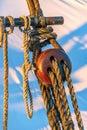 Triple Deadeye Detail of Schooner Rigging Royalty Free Stock Photo