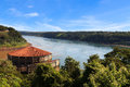 The triple frontier from brazilian side iguazú and paraná rivers paraguay argentina brazil Stock Photos