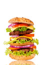 Triple hamburger Royalty Free Stock Photos