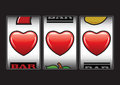 Triple hearts slots machine Stock Image