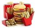 Triple sized hamburger, french fries and soda. 3D illustration