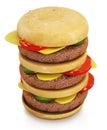 Triple sized hamburger on white background. 3D illustration