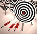 Triple Target Shows Accuracy, Aim And Skill Royalty Free Stock Photo