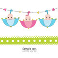 Triplets with umbrella baby shower card Royalty Free Stock Photo