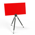 The tripod with billboard red is perfect space for your text or image Stock Photo