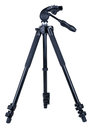 Tripod black aluminum for camera isolated on white background Royalty Free Stock Images