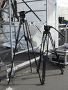 Tripod for photo and video cameras scene equipment Stock Image