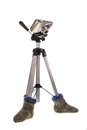 A tripod is in socks Royalty Free Stock Photo