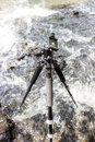 Tripod the stand alone on waterfalls Royalty Free Stock Photo