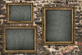 Triptych with empty canvas over ruined brick wall Stock Images