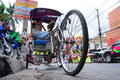 Trishaw employed service customers in the city located at nakhon ratchasima province in thailand Stock Photo