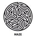 Triskelion symbol tattoo maze. Geometric circular labyrinth