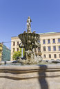 The triton fountain olomouc czech republic is located on náměstí republiky square and is work of master stonemason wenzl render Royalty Free Stock Photography