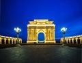 Triumph arch on february in azerb ganja azerbaijan ganja is popular city attraction Royalty Free Stock Photos