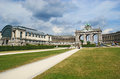 The triumphal arch brussels belgium june parc du cinquantenaire is famous for big exhibitional complex consisting of and Royalty Free Stock Photos